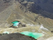 The Emerald Lakes. Geothermal activity is evident from the presence of steam nearby, reminding us that the volcano is very much alive.