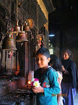 Hindu family in temple
